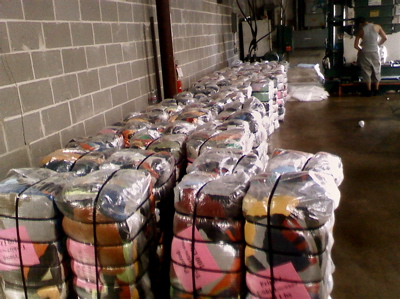 sorted used clothing bales
